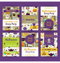 Halloween party template invitation set in modern vector