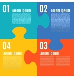 Simple flat infographic with jigsaw puzzle pieces vector