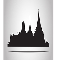 Thai temple silhouettes on the white background vector