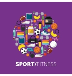Sports equipment background flat icon vector