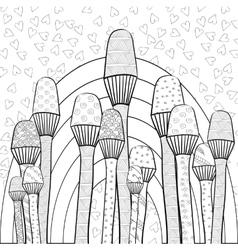 Adult coloring book page magic mushrooms garden vector