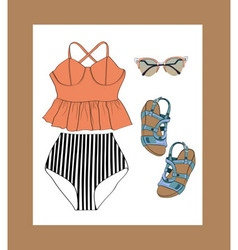 Retro summer outfit set vector
