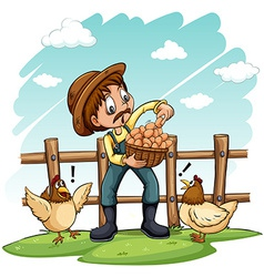 A farmer with a basket of eggs vector image