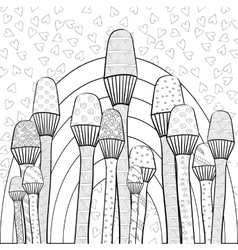 Adult coloring book page magic mushrooms garden vector