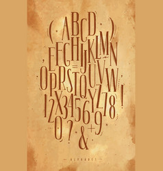 Alphabet gothic font craft vector