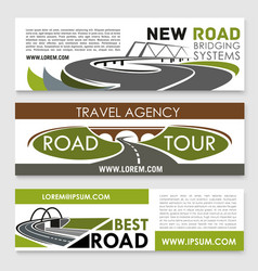 Banners of road construction and travel vector