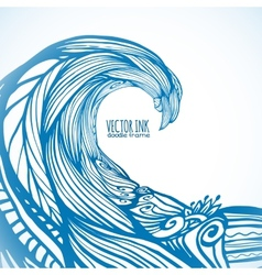 Blue ornate doodle wave background vector