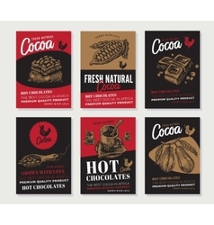 Cocoa engraved posters collection vector