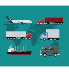 Collection truck plane ship delivery shipping vector