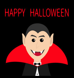Count dracula head face wearing red cape cute vector