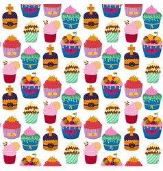 cute cupcakes and muffins chocolate vector image