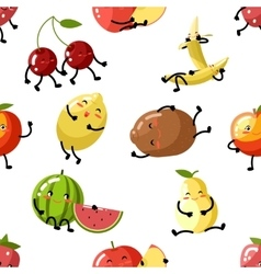 Cute fruit apple cherry watermelon kiwi strawberry vector