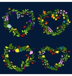 Floral hearts with flowers and herbs vector
