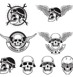 Freedom spirit set of skulls in biker helmets vector