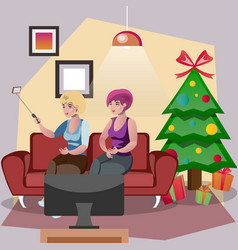 friends of a woman standing near to a christmas vector image