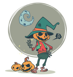 Halloween scary pumpkin head scarecrow vector