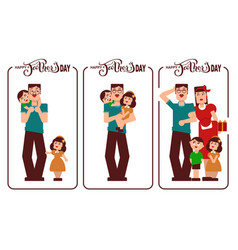 Happy fathers day dad mom and kids happy family vector