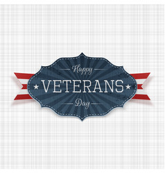 Happy veterans day national emblem with ribbon vector