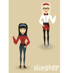 Hipster character business woman with hipster vector image