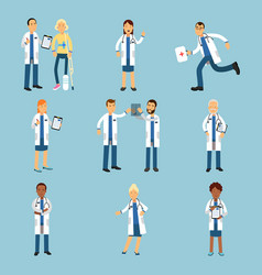 Hospital medical staff set of practitioner young vector