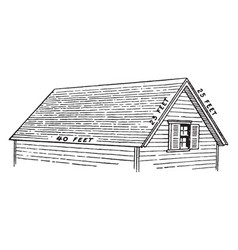 House roof structure vintage engraving vector
