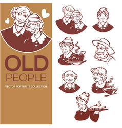 Large collection of happy old people portraits vector