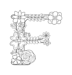 Letter F coloring book for adults vector image