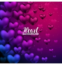 Love romantic 3d realistic red hearts shining vector
