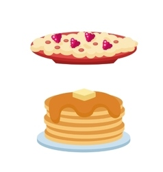 Pancakes with fresh blueberries and maple syrup vector image vector image