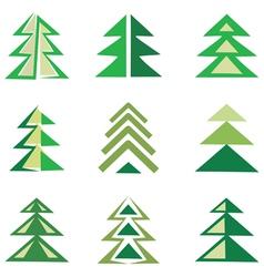 Pine trees set vector
