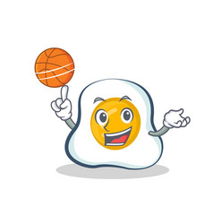 Playing basketball fried egg character cartoon vector
