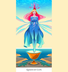 Queen of cups tarot card vector