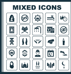Ramadan icons set collection of body cleansing vector