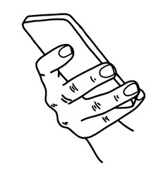 right hand using mobile phone vector image vector image