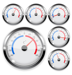 Round weather thermometer with chrome frame vector