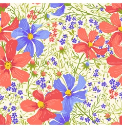 Seamless floral pattern with flowers and herbs vector
