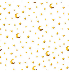 Seamless pattern with gold cartoon stars and moons vector