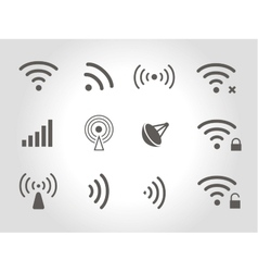 Set of twelve black wireless and wifi icons vector