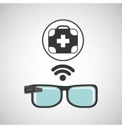 Smart glasses connected first aid vector