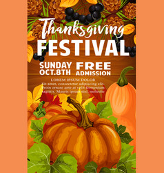 Thanksgiving day and autumn festival poster design vector