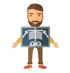 The view of man is holding a x-ray picture vector