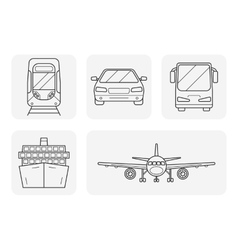 Transport linear art icons set vector image