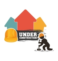 Under construction man builder helmet hammer brick vector