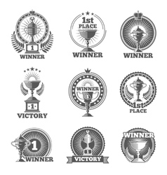 Victory trophies and awards logos badges vector