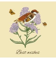 Vintage flower postcard vector image vector image