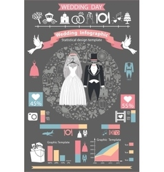 Wedding infographics setRetro wedding clothing vector image vector image