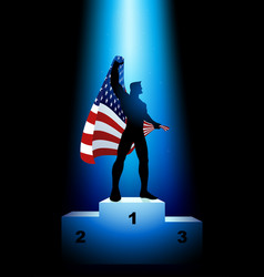 Winner holding the flag of usa vector
