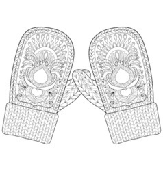Winter warm knitted mittens in zentangle style vector