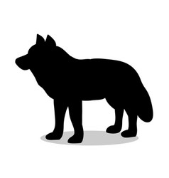 wolf predator black silhouette animal vector image