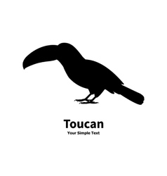 Standing on the ground silhouette toucan vector